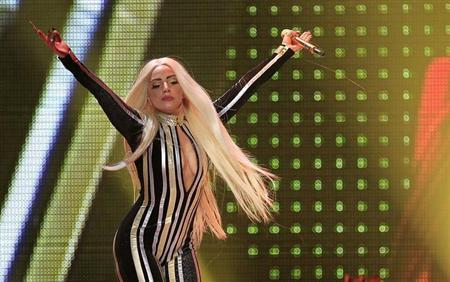 """Lady Gaga performs onstage during the Rolling Stones final concert of their """"50 and Counting Tour"""" in Newark"""