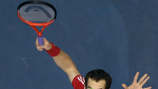 Andy Murray of Great Britain serves to Grigor Dimitrov of Bulgaria during their quarter- final match of the Thailand Open tennis tournament in Bangkok, Friday, Sept. 30, 2011. (AP Photo/Sakchai Lalit)