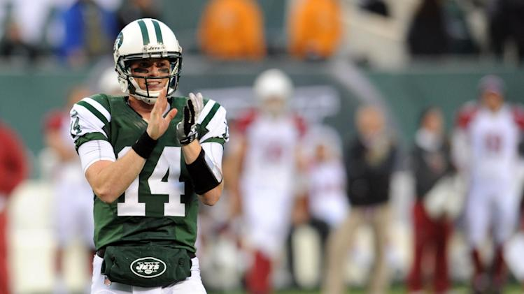 New York Jets quarterback Greg McElroy reacts during the second half of an NFL football game against the Arizona Cardinals, Sunday, Dec. 2, 2012, in East Rutherford, N.J. The Jets won 7-6. (AP Photo/Bill Kostroun)