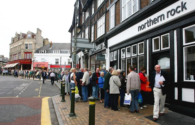 Customers queuing outside Northern Rock in Bromley, Kent in September 2007. Image - Gareth Fuller/PA Wire