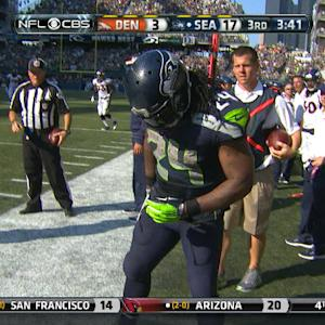 Seattle Seahawks running back Marshawn Lynch has hair ripped out