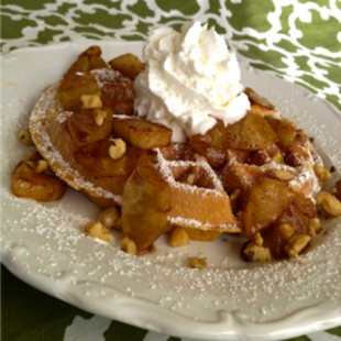 Delicious homemade apple pie topped waffles