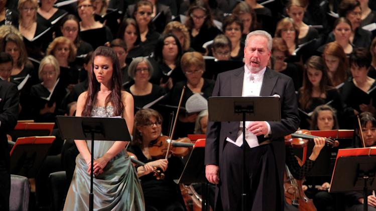 """In this Nov. 30, 2011 photo provided by the Collegiate Chorale, James Morris sings the role of Moses with Ginger Costa-Jackson as his sister Marie during a concert performance of """"Moise et Pharaon,"""" by the Collegiate Chorale at Carnegie Hall in New York. James Bagwell conducted soloists, chorus and the American Symphony Orchestra in Rossini's  musical telling of the Israelites' escape from Egypt.(AP Photo/American Symphony Orchestra, Erin Baiano)"""