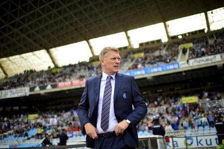 Real Sociedad coach David Moyes looks on before their Spanish first division soccer match against Atletico Madrid at Anoeta stadium in San Sebastian