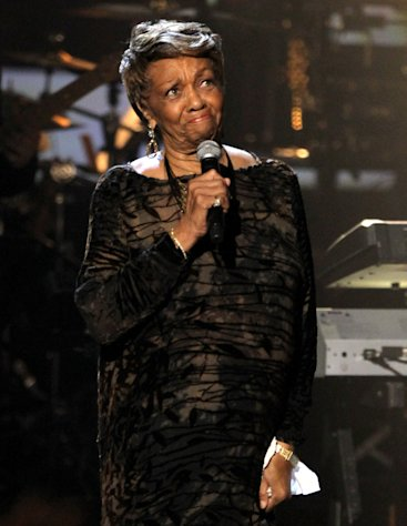 Cissy Houston pauses as she performs during the in memoriam to her daughter Whitney Houston at the BET Awards on Sunday, July 1, 2012, in Los Angeles. (Photo by Matt Sayles/Invision/AP)
