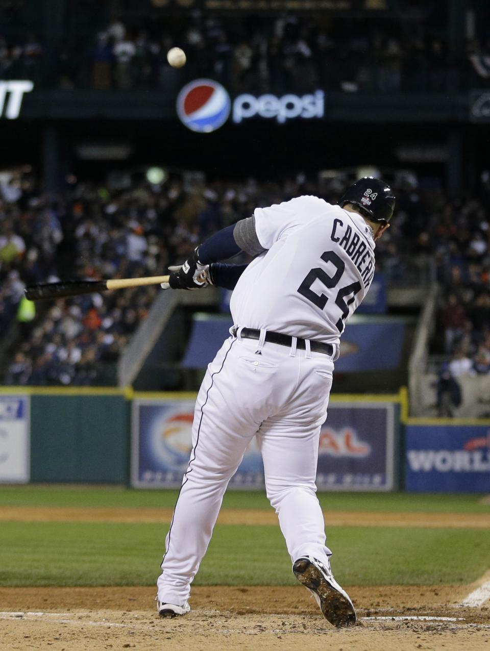 Detroit Tigers' Miguel Cabrera hits a two-run home run during the third inning of Game 4 of baseball's World Series against the San Francisco Giants Sunday, Oct. 28, 2012, in Detroit. (AP Photo/Matt Slocum)