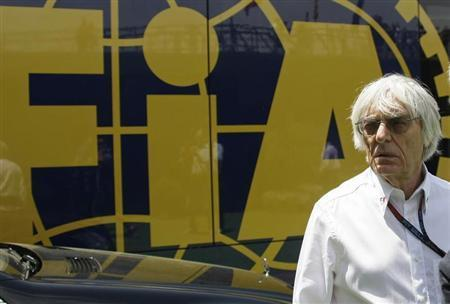 Formula One supremo Ecclestone looks on at a paddock before the qualifying session at the Spanish F1 Grand Prix at the Circuit de Catalunya in Montmelo, near Barcelona