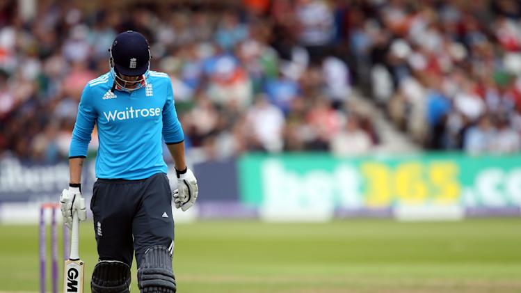 England's Alex Hales walks off dejected after losing his wicket during their One Day International cricket match against India at the Trent Bridge cricket ground in Nottingham, England, Saturday, Aug. 30, 2014. (AP Photo/Simon Cooper, PA Wire) UNITED KINGDOM OUT - NO SALES - NO ARCHIVES