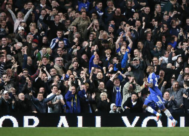 Chelsea's Eto'o celebrates after scoring a goal against Tottenham Hotspur during their English Premier League soccer match at Stamford Bridge in London