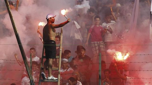 Zamalek fans at the derby (Reuters)