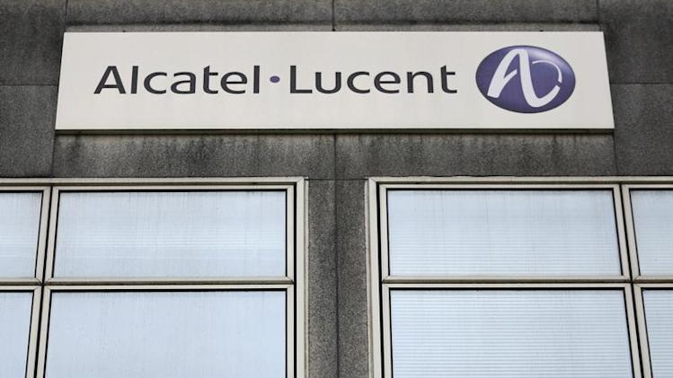 The logo of the telecom equipment maker Alcatel-Lucent is seen on the company site building in Rennes