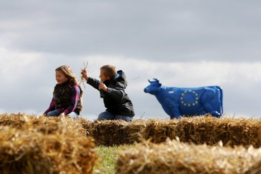 <p>Two children play in a field next to a replica cow decorated with the European flag as part of a milk farmers' demonstration in front of Mont-Saint-Michel in France in 2010. European Union nations disagreed Monday on whether to intervene in markets to help dairy farmers overcome low milk prices, diplomatic sources said.</p>