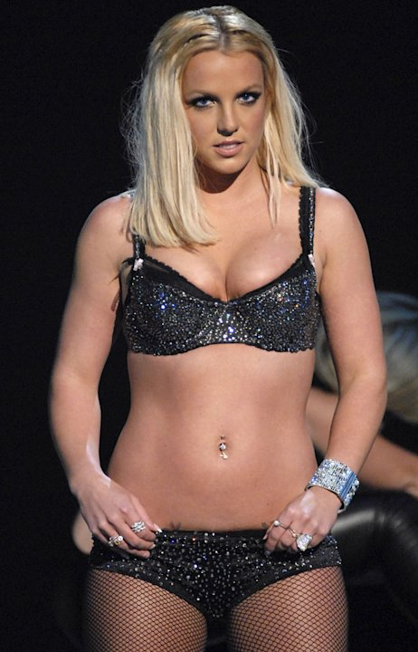 Britney Spears performs at the 2007 Video Music Awards at The Pearl Concert Theater.