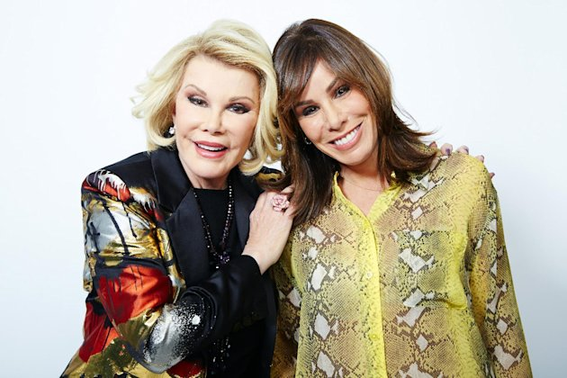 "This Feb. 21, 2013 photo shows comedian Joan Rivers, left, and her daughter Melissa Rivers in New York. Joan leads a panel on ""Fashion Police,"" with Giuliana Rancic, Kelly Osbourne and stylist George Kotsiopoulos as they critique celebrity style choices. Melissa is a co-executive producer and occasional panelist as well. (Photo by Dan Hallman/Invision/AP)"