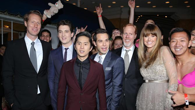 """Director/Writer Jon Lucas, Miles Teller, Justin Chon, Skylar Astin, Director/Writer Scott Moore and Sarah Wright at the LA premiere of """"21 and Over"""" at the Westwood Village Theatre on Thursday, Feb. 21, 2013 in Los Angeles. (Photo by Eric Charbonneau/Invision/AP)"""