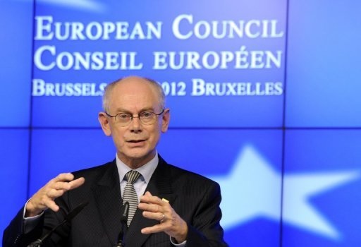 <p>European Council President Herman Van Rompuy gives a press conference at the end of the first day of a EU summit in Brussels on October 19. Just a month ahead of what promises to be a very difficult summit on the EU's 2014-20 budget, leaders are trading threats and blandishments, seeking advantage where they can to trim their bill.</p>