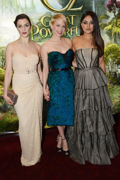 Rachel Weisz, Michelle Williams and Mila Kunis at the London premiere, Feb 2013 Image © Getty
