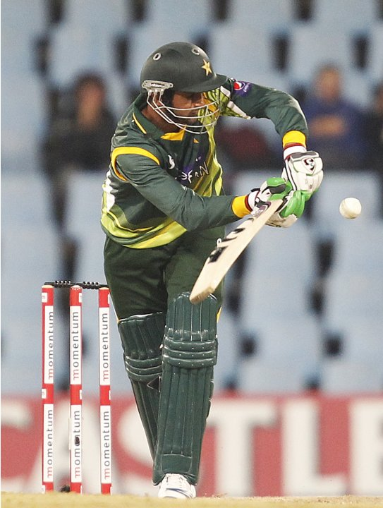 Pakistan's Shoaib Malik plays a shot during their second ODI cricket match against South Africa in Centurion