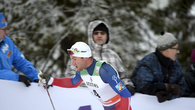 Petter Northug Jr of Norway competes to place second in the men's classic style Cross Country 15km pursuit at the FIS World Cup Ruka Nordic 2015 event in Kuusamo