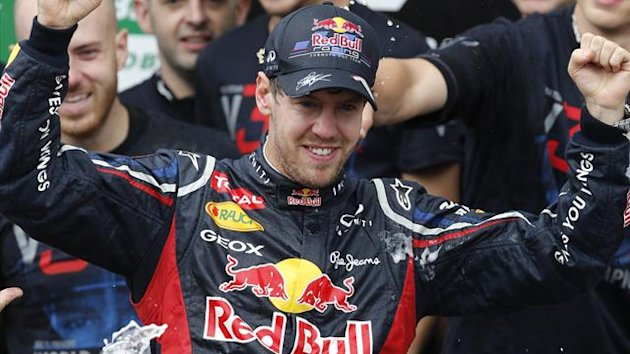 Red Bull Formula One driver Sebastian Vettel of Germany celebrates winning the world championship after the Brazilian F1 Grand Prix at Interlagos circuit in Sao Paulo (Reuters)