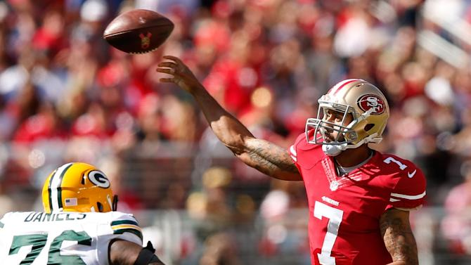 Quarterback Colin Kaepernick of the San Francisco 49ers during the game against the Green Bay Packers at Levi's Stadium on October 4, 2015