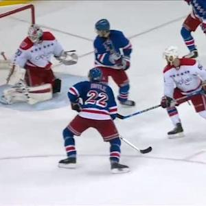 Fast deflects shot by Hayes off his skate