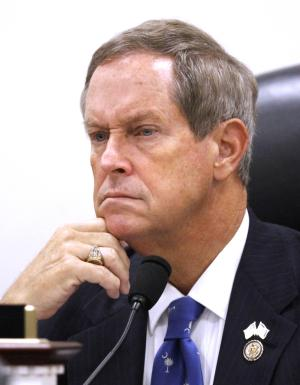 Military Personnel subcommittee Chairman Rep. Joe Wilson, R-S.C. listens to testimony on Capitol Hill, in Washington, Friday, Sept. 23, 2011, during a House Joint Military Personnel and Oversight and Investigations subcommittees Hearing on Arlington National Cemetery reforms. (AP Photo/Jacquelyn Martin)