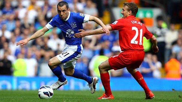 Liverpool's Leiva Lucas and Everton's Leon Osman battle for the ball (PA Photos)