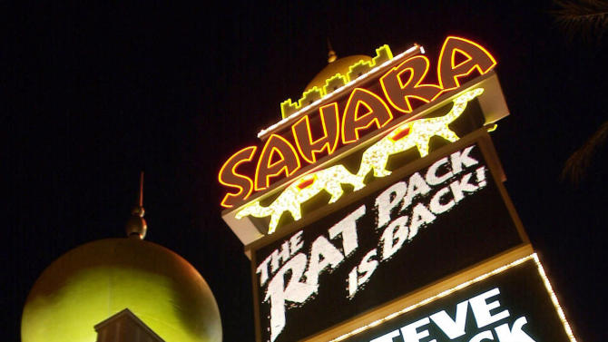 FILE This  March 1, 2001 file photo shows the marquee of the Sahara Hotel and Casino on the Las Vegas Strip. Owners of the closed Sahara Hotel Casino on the Las Vegas Strip plan to donate one of the property's iconic signs to the Neon Museum.    (AP Photo/Laura Rauch)