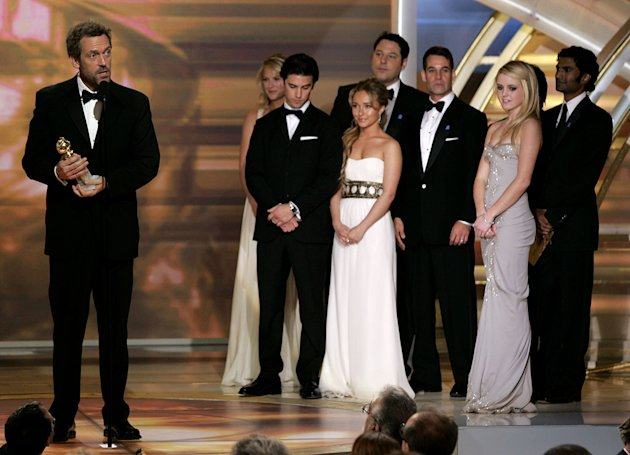 "Hugh Laurie and the cast of ""Heroes"" at the 64th annual Golden Globe Awards."