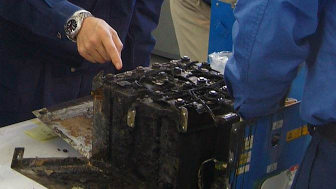 "In this Jan. 26, 2013 photo provided by the Japan Transport Safety Board (JTSB), the distorted main lithium-ion battery of the All Nippon Airways' Boeing 787 which made an emergency landing, in dismantled by the investigators at its manufacturer GS Yuasa's headquarters in Kyoto, Japan. An investigation into the battery that overheated on the Boeing flight in Japan on Jan. 16, 2013 found evidence of the same type of ""thermal runaway"" seen in a similar incident in Boston, officials said Tuesday, Feb. 5, 2013. (AP Photo/Japan Transport Safety Board) EDITORIAL USE ONLY, NO SALES"