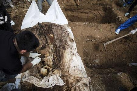 Human remains are retrieved from a mass grave at an abandoned camp in Thailand's southern Songkhla province