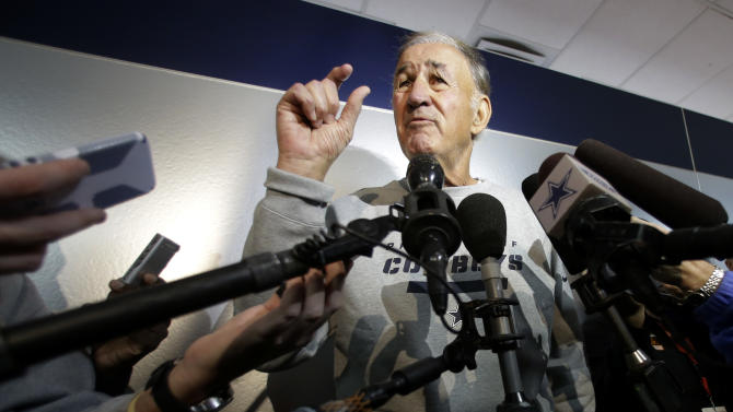 Dallas Cowboys defensive coordinator Monte Kiffin gestures as he responds to a question during an NFL football news conference at the Cowboys training facility Thursday, Feb. 14, 2013, in Irving, Texas. Kiffin is about to turn 73 and has been out of the NFL for five years. The Cowboys are thinking more about his history of success at Tampa Bay and how a switch to Kiffin's 4-3 alignment will translate into fewer mistakes and more turnovers. (AP Photo/Tony Gutierrez)