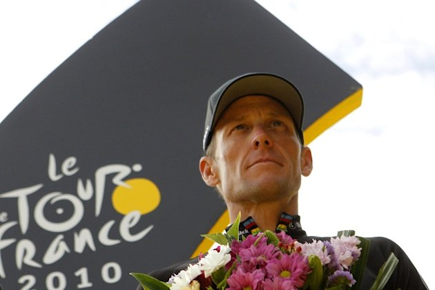 US Lance Armstrong, Leader Of US Radioshack Cycling Team, Best One In The Tour De France 2010, Posing On The Podium As  AFP/Getty Images