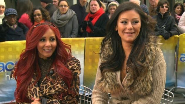 Nicole 'Snooki' Polizzi and Jenni 'JWoww' Farley stop by Access Hollywood Live on January 4, 2013 -- Access Hollywood