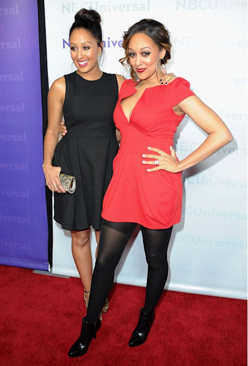 "Tamera Mowry and Tia Mowry (""Tia & Tamera"") attend the 2012 NBC Universal Winter TCA All-Star Party at The Athenaeum on January 6, 2012 in Pasadena, California."