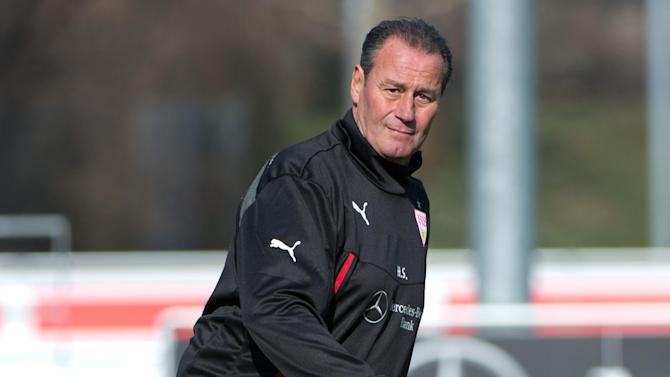 New head coach of German soccer club VfB Stuttgart, Huub Stevens, attends  a training session in Stuttgart, Germany Monday March 10, 2014