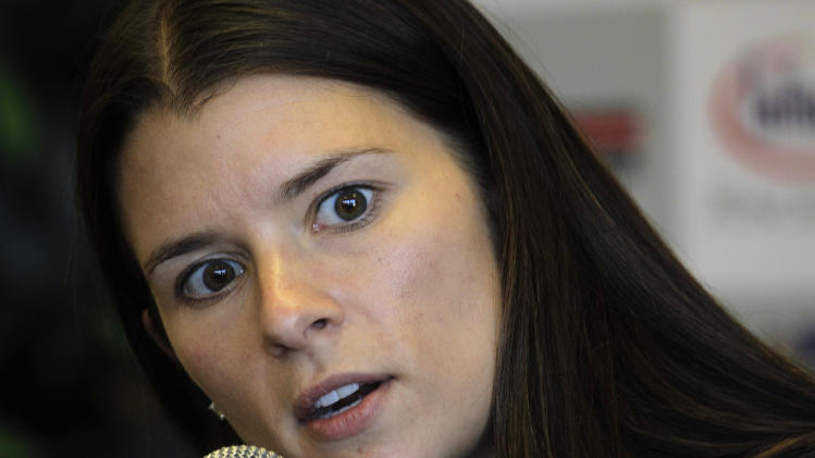 Driver Danica Patrick addresses the media during a news conference for the IndyCar auto race, Friday, Aug. 26, 2011, at Infineon Raceway in Sonoma, Calif. (AP Photo/Ben Margot)
