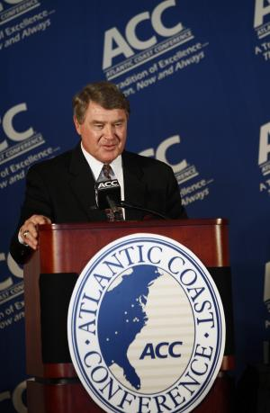 Atlantic Coast Conference commissioner John Swofford announces Notre Dame's plans to move to the ACC from the Big East  during a news conference at the University of North Carolina in Chapel Hill, N.C., Wednesday, Sept. 12, 2012. The school will play five football games annually against the league's programs, but will be a full member in all other sports.  (AP Photo/Gerry Broome)
