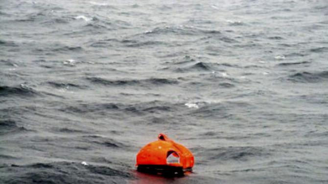 A life raft believed to be from the car ferry Norman Atlantic that burns in waters off Greece is seen in this still image from video