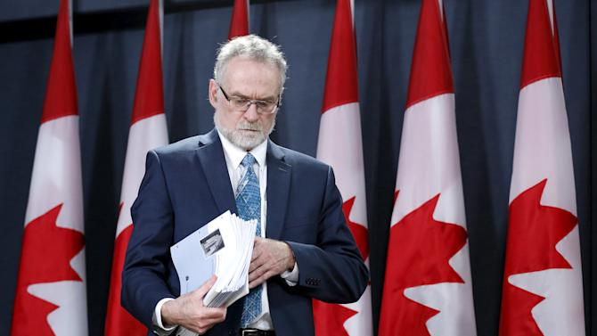Canada's Auditor General Ferguson arrives at a news conference in Ottawa