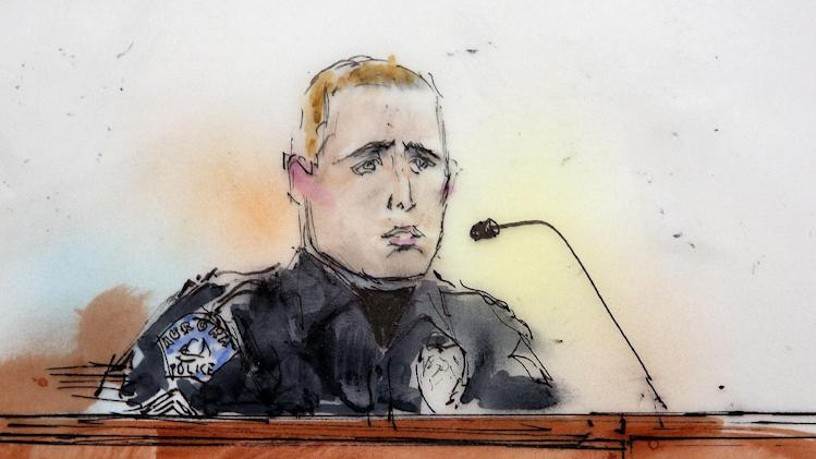 This courtroom sketch shows Aurora Police officer Justin Grizzle as he testifies at a preliminary hearing for James Holmes at a district court in Centennial, Colo., on Monday, Jan. 7, 2013. Investigators say Holmes opened fire during the midnight showing of the latest Batman movie on July 20, killing 12 people and wounding dozens. (AP Photo/Bill Robles, Pool) TV OUT