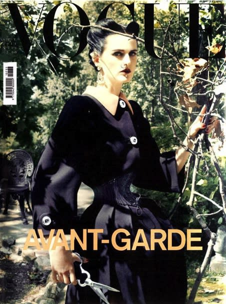The September cover of Vogue Italia features Stella Tennant impersonating Ethel Granger.