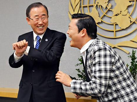 "Psy Taught U.N. Secretary General Ban Ki-moon to ""Gangnam Style!"""