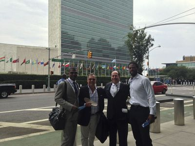 From L to R: TBG CEO Jack Brewer, GTX Corp. CEO Patrick Bertagna, DirectView CEO Roger Ralston and Super Bowl Champion/Former Pro Bowl NFL WR Sidney Rice in front of United Nations following a productive day of meetings.