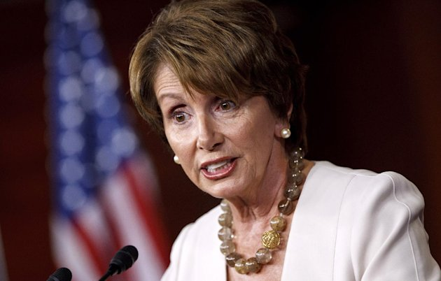FILE - In this July 26, 2012 file photo, House Minority Leader Nancy Pelosi of Calif. meets with reporters on Capitol Hill in Washington. Pelosi has come to the defense of Sen. Harry Reid, Monday over his comments about Mitt Romney's taxes. (AP Photo/J. Scott Applewhite, File)