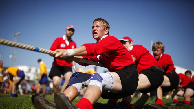 Team Switzerland compete during the Tug of War World Championships in the town of Appenzell