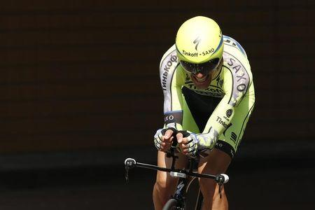 Tinkoff-Saxo rider Ivan Basso of Italy cycles during the individual time-trial first stage of the 102nd Tour de France cycling race in Utrecht