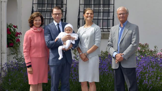 FILE - In this July 14, 2012 file photo, from left, Swedish Queen Silvia, Prince Daniel holding Princess Estelle, Crown Princess Victoria and King Carl XVI Gustaf pose for photographers in the courtyard of the Swedish royal family's summer residence Solliden, on the island of Oeland, Sweden, during the celebrations of the Crown Princess' 35th birthday. Spain's Crown Princess Letizia has a penchant for haute couture. Queen Elizabeth II's Bentley's are spotless. Belgium's King Albert II maintains a sumptuous villa in the south of France. But believe it or not, many of Europe's royals are feeling a pinch of the austerity sweeping the continent as it deals with its debt crisis. (AP Photo/Scanpix Sweden, Jonas Ekstromer, File) SWEDEN OUT