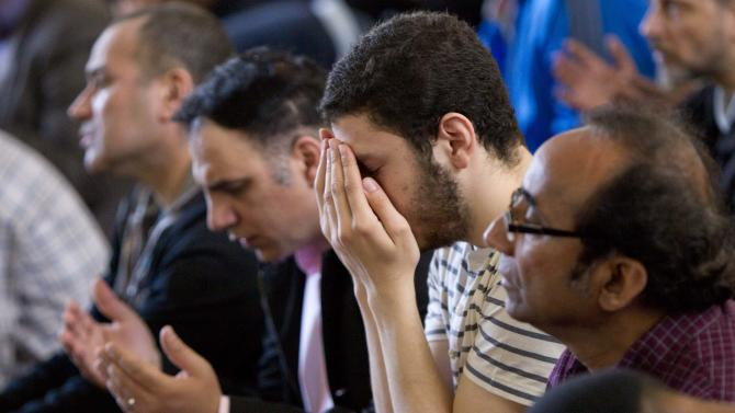 Men pray during a service at the Islamic Society of Boston mosque in Cambridge, Mass. on Friday, April 26, 2013. Leaders of the Islamic Society of Boston said bombing suspect Tamerlan Tsarnaev occasionally attended Friday prayers, but had protested the community's moderate approach. (AP Photo/Robert F. Bukaty)